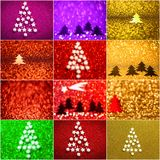 Collection of background with christmas tree and stars. Abstract twinkled background with bokeh defocused lights stock illustration