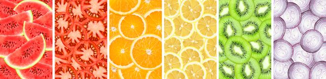 Collection background of sliced orange, watermelon, kiwi, lemon, onion and tomato closeup royalty free stock photography