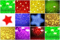Collection of background with stars Abstract twinkled background. Collection of background with stars. Abstract twinkled background with bokeh defocused lights Stock Photos