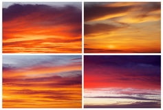 Collection of backgrounds with fiery sunset sky. Royalty Free Stock Image