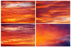 Collection of backgrounds with fiery sunset sky. Royalty Free Stock Photo