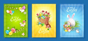 Collection backgrounds Happy Easter royalty free stock photos