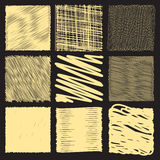 Collection of backgrounds with linear doodles. Royalty Free Stock Photos