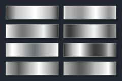 Collection of backgrounds with a metallic gradient. Brilliant plates with silver chrome effect. Vector illustration vector illustration