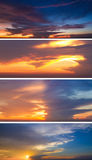 Collection of backgrounds with sunset sky Stock Images