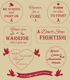 Collection of badges against the cancer. Disease Royalty Free Stock Images