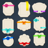 Collection of badges, labels, tags with bows and Stock Images
