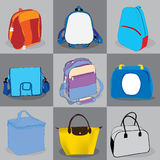Collection bag children and adults Royalty Free Stock Photos