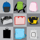 Collection bag children and adults Stock Photos