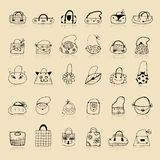 Collection of bags, sketch drawing for your design Royalty Free Stock Photo