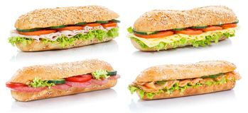 Collection of baguette sub sandwiches with salami ham cheese sal royalty free stock photo