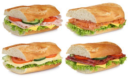 Collection of baguettes with salami ham salmon cheese isolated Royalty Free Stock Photography