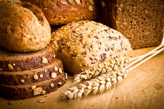 Collection of baked bread Stock Photos