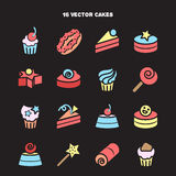 Collection of bakery and cake icons. Candy, sweet set Royalty Free Stock Photography