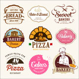 Collection of BAKERY, CAKES and PIZZA. Badges and labels Stock Photography