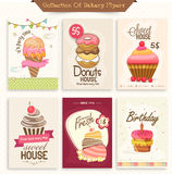 Collection of bakery flyers. Set of Bakery flyers including party flyer, birthday invitation and sweet house flyers Stock Images