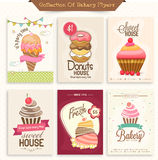 Collection of bakery flyers for sweet house. Stock Photos