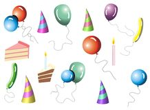 Collection ballons. Collection happy ballons party symbols Stock Images