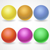 A collection of balls of different colors and. Lighting for your design. Color yellow, Golden, red, purple, blue, green on a white background Royalty Free Stock Image