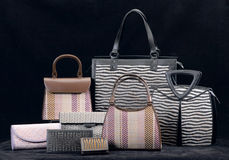 The collection of bamboo handbag Stock Photo