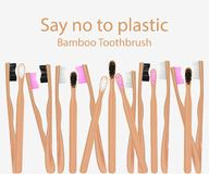Collection of bamboo toothbrushes. Say no to plastic goods. Zero waste. Vector illustration. Collection of bamboo toothbrushes. Say no to plastic goods. Zero royalty free illustration