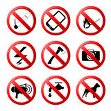 Collection of ban road signs Stock Photo