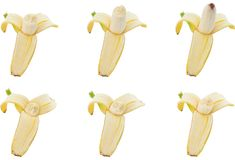 Collection of banana bite. Royalty Free Stock Images