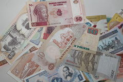 Collection of banknotes of different countries Royalty Free Stock Image