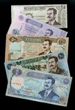 Collection of banknotes Iraqi dinars portrait Saddam Hussein Royalty Free Stock Photo