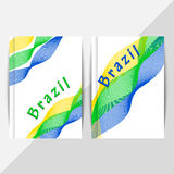 Collection banner design, Brazil flag color background. Brochure design in summer style. Holiday, vacation poster. Vector illustration. Symbol colors of summer Stock Photography