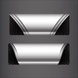 Collection of banner set - metallic steel and honeycomb element stock illustration