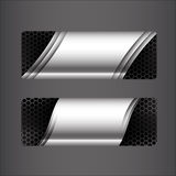 Collection of banner set - metallic steel and honeycomb element royalty free illustration
