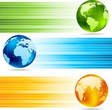 Collection of banners. With globes Royalty Free Stock Photography