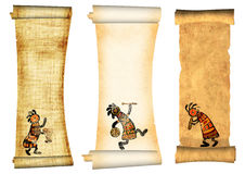 Collection of banners. Dancing musician. Collection of banners with african traditional patterns Royalty Free Stock Photos