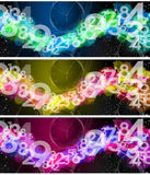 Collection of banners and backgrounds. Three banners or backgrounds with a starry sky, numbers and watches Stock Image