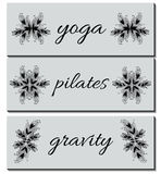 Collection of Banners Business cards with Hand-drawn Ornaments. Collection of Banners (business cards) with Hand-drawn Ornaments - Pilates, Yoga, Gravity. Vector Royalty Free Stock Photos