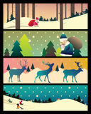 Collection of banners with Christmas landscapes Royalty Free Stock Photos