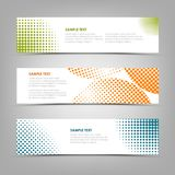Collection banners with color abstract halfone pattern. Vector eps 10 stock illustration