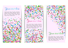 Collection of banners with confetti Royalty Free Stock Image