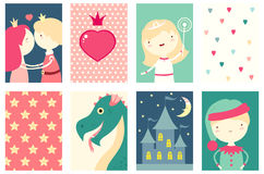 Collection of banners with cute fairy-tale characters Stock Image