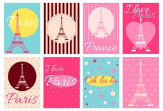 Collection of banners with Eiffel tower Royalty Free Stock Photography