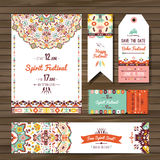 Collection of banners, flyers or invitations with geometric elements. Flyer design in bohemian style Royalty Free Stock Photo