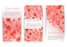 Collection of banners with hearts confetti Royalty Free Stock Photo