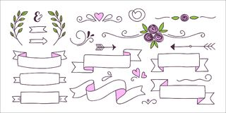 Collection of banners, hearts and floral elements Royalty Free Stock Image