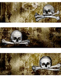 Collection of banners with human skulls and bones. Set of grunge banners with human skulls and bones Stock Image