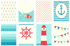 Collection of banners in the marine style Royalty Free Stock Photography