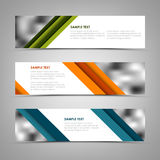 Collection banners with oblique colored stripes template Royalty Free Stock Image