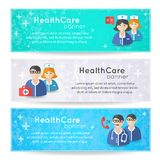 Collection of banners and ribbons with medicine Royalty Free Stock Image