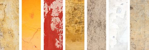 Set of banners with textures of stucco stock images
