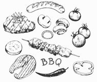 Collection of the barbecue doodles, different objects: drinks, food, meat and vegetables, different tools and instruments, etc stock illustration